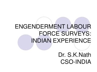 ENGENDERMENT LABOUR FORCE SURVEYS: INDIAN EXPERIENCE Dr. S.K.Nath CSO-INDIA