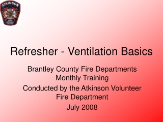 Refresher - Ventilation Basics