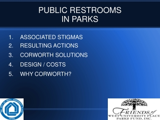 PUBLIC RESTROOMS IN PARKS