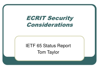 ECRIT Security Considerations