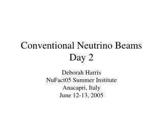 Conventional Neutrino Beams Day 2