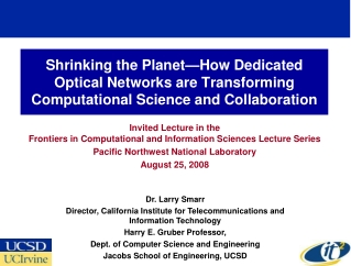 Invited Lecture in the  Frontiers in Computational and Information Sciences Lecture Series