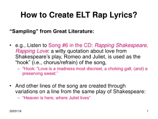 How to Create ELT Rap Lyrics?