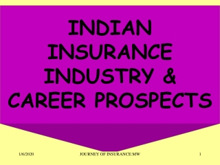 INDIAN INSURANCE INDUSTRY & CAREER PROSPECTS