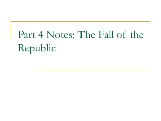 Part 4 Notes: The Fall of the Republic