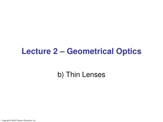 Lecture 2 – Geometrical Optics