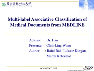 Multi-label Associative Classification of Medical Documents from MEDLINE