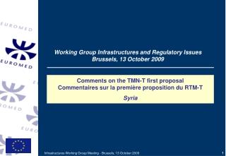 Comments on the TMN-T first proposal  Commentaires sur la première proposition du RTM-T Syria