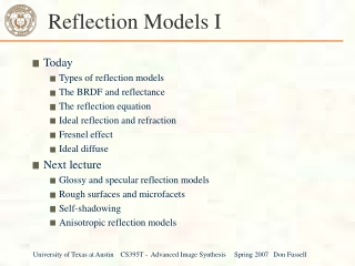 Reflection Models I