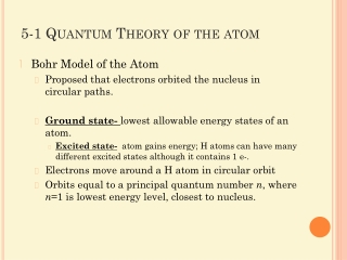 5-1 Quantum Theory of the atom