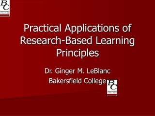 Practical Applications of Research-Based Learning Principles
