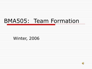 BMA505:  Team Formation