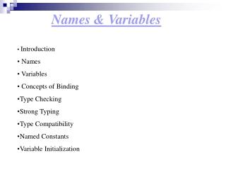 Names & Variables