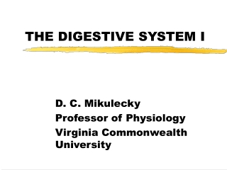 THE DIGESTIVE SYSTEM I