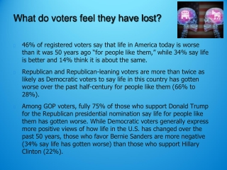 What do voters feel they have lost?