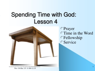 Spending Time with God:               Lesson 4