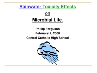 Rainwater Toxicity Effects on  Microbial Life . Phillip Ferguson February 2, 2008