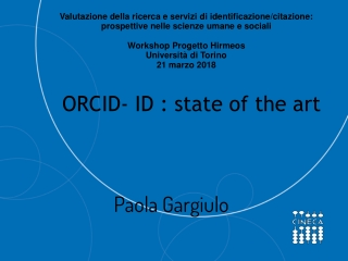 ORCID- ID : state of the art