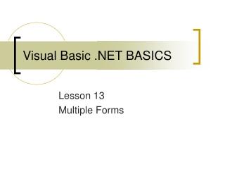 Visual Basic .NET BASICS