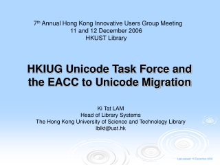 HKIUG Unicode Task Force and the EACC to Unicode Migration