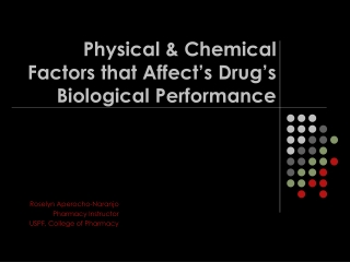 Physical & Chemical  Factors that Affect's Drug's  Biological Performance