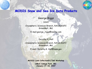 MODIS Snow and Sea Ice Data Products