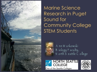 Marine Science Research in Puget Sound for Community College STEM Students