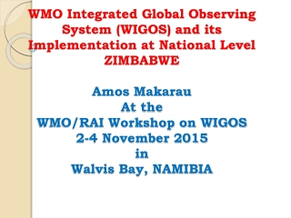 WMO Integrated Global Observing System (WIGOS) at National Level
