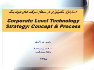 Corporate Level Technology Strategy: Concept  Process