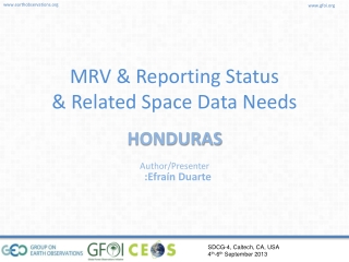 MRV & Reporting Status & Related Space Data Needs