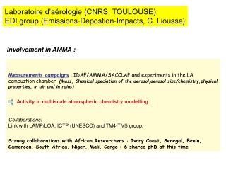 Laboratoire d'aérologie (CNRS, TOULOUSE) EDI group (Emissions-Depostion-Impacts, C. Liousse)