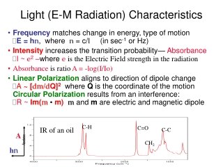 Light (E-M Radiation) Characteristics