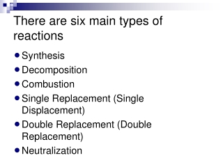 There are six main types of reactions