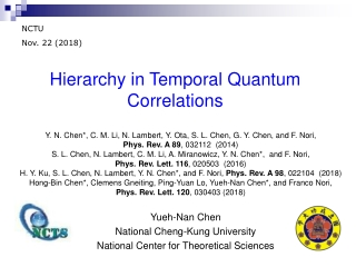 Yueh-Nan Chen National Cheng-Kung University National Center for Theoretical Sciences