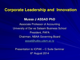 Corporate Leadership and  Innovation