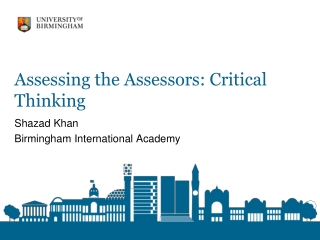 Assessing the Assessors: Critical Thinking