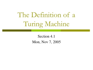 The Definition of a Turing Machine