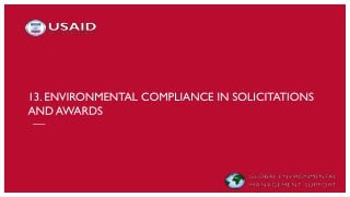 13. Environmental compliance in solicitations and awards