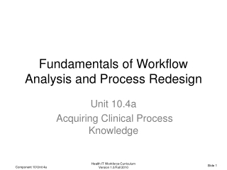 Fundamentals of Workflow Analysis and Process Redesign
