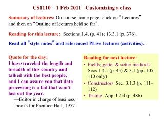 CS1110    1 Feb 2011   Customizing a class