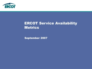 ERCOT Service Availability Metrics