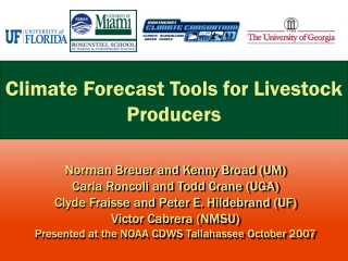 Climate Forecast Tools for Livestock Producers