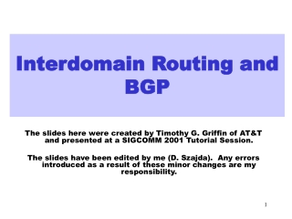 Interdomain Routing and BGP