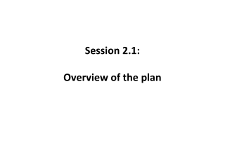 Session 2.1:   Overview of the plan