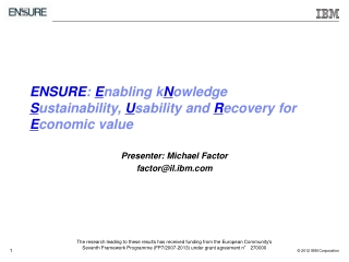 ENSURE :  E nabling k N owledge  S ustainability,  U sability and  R ecovery for  E conomic value