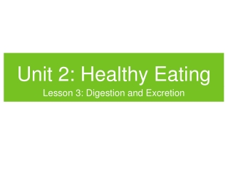 Unit 2: Healthy Eating