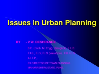 Issues in Urban Planning