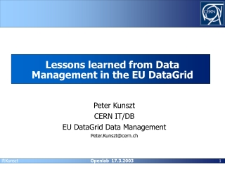 Lessons learned from Data Management in the EU DataGrid