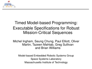 Timed Model-based Programming: Executable Specifications for Robust Mission-Critical Sequences