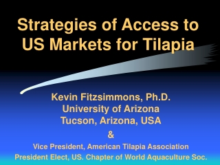 Strategies of Access to US Markets for Tilapia